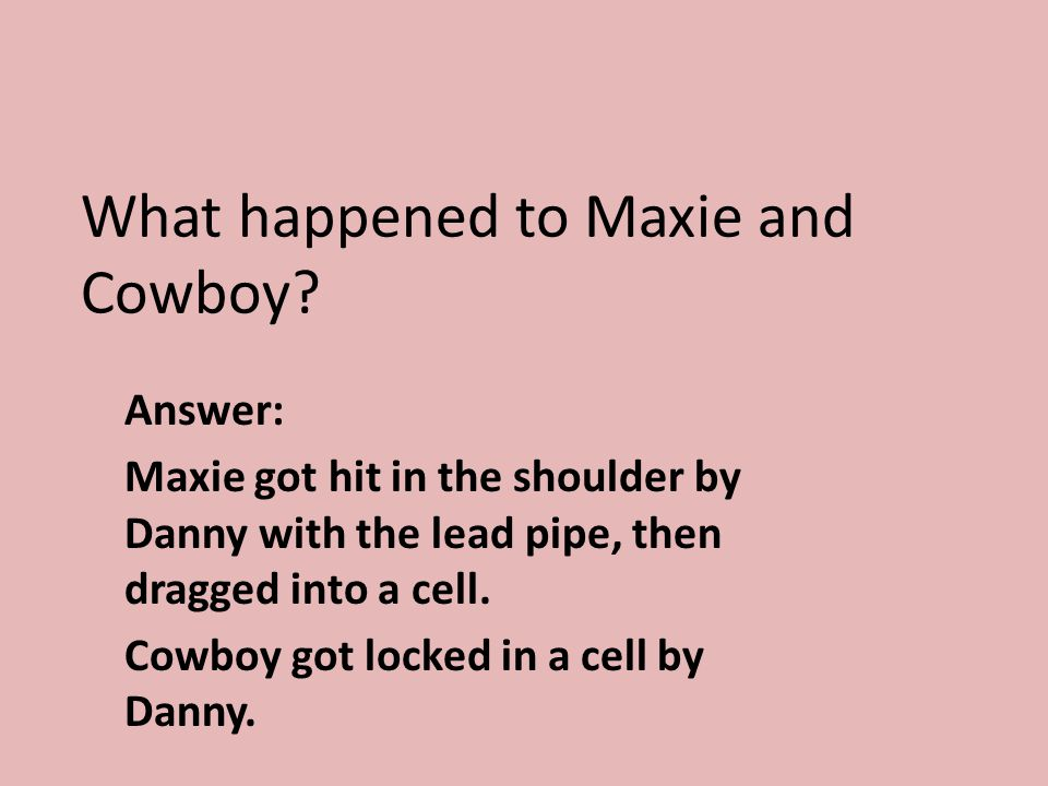 What happened to Maxie and Cowboy