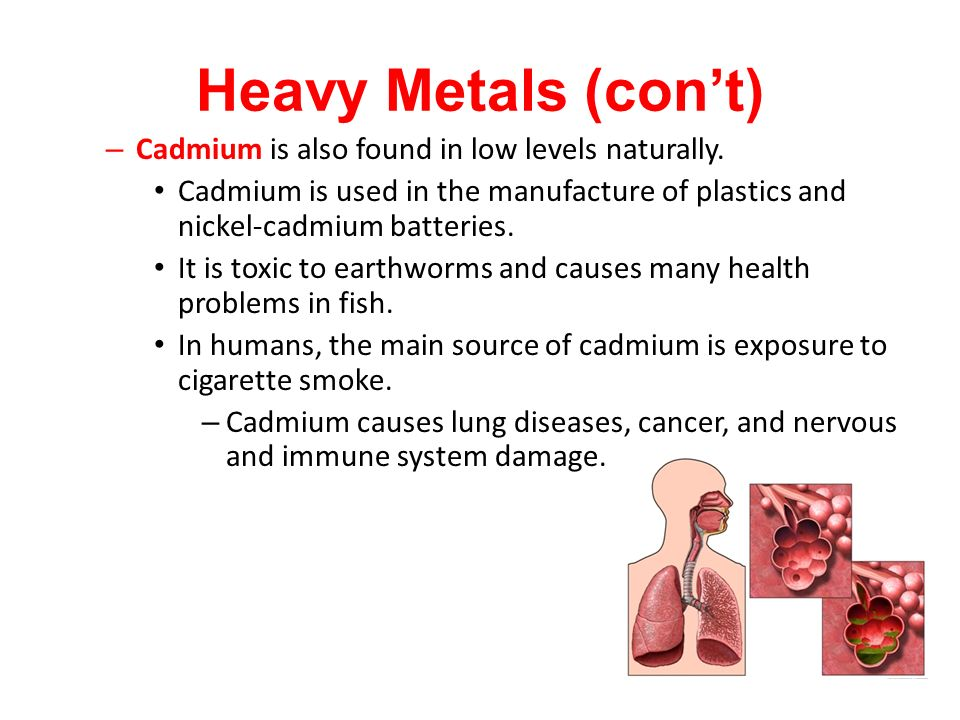 Heavy Metals (con't) Cadmium is also found in low levels naturally.