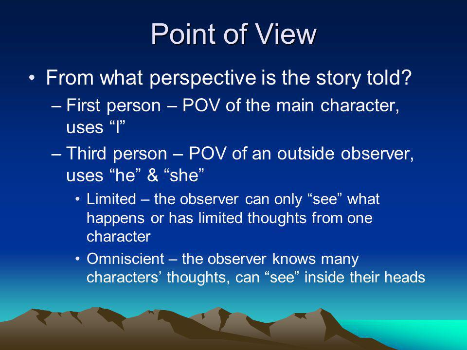 Point of View From what perspective is the story told