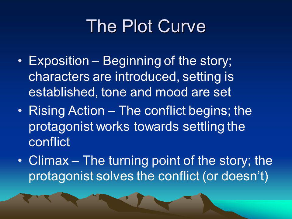 The Plot Curve Exposition – Beginning of the story; characters are introduced, setting is established, tone and mood are set.