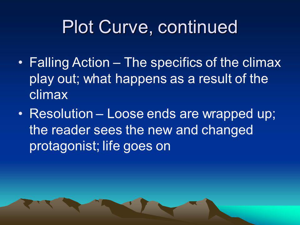 Plot Curve, continued Falling Action – The specifics of the climax play out; what happens as a result of the climax.