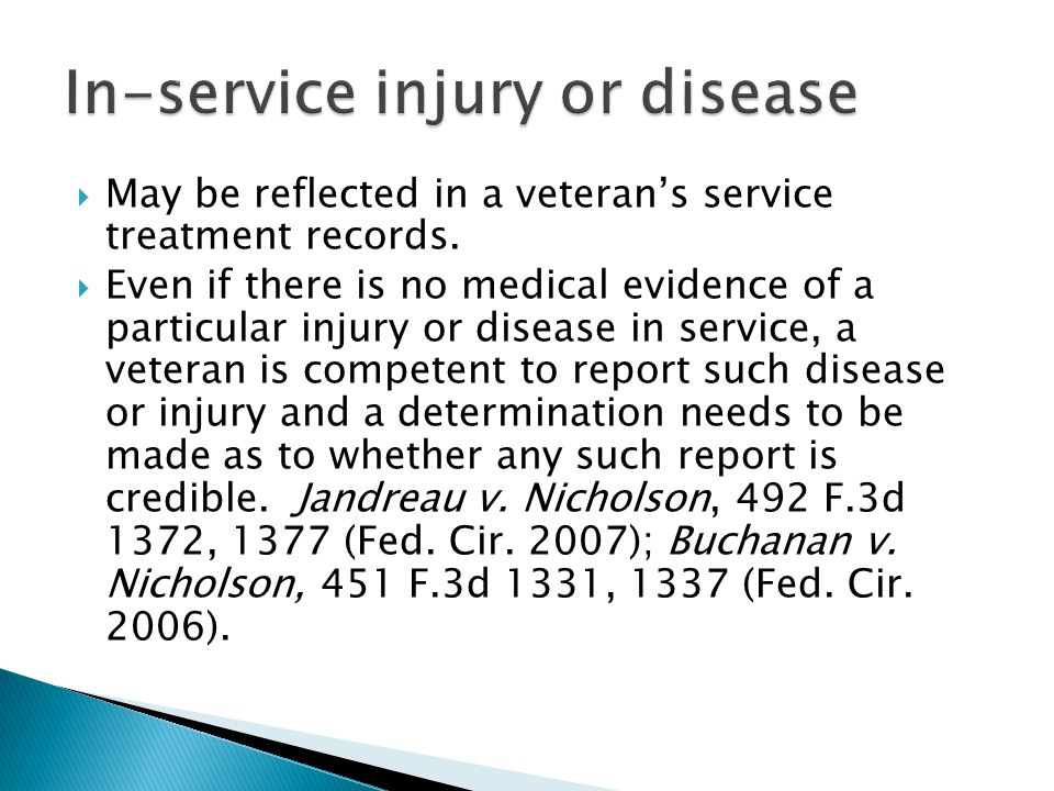 In-service injury or disease