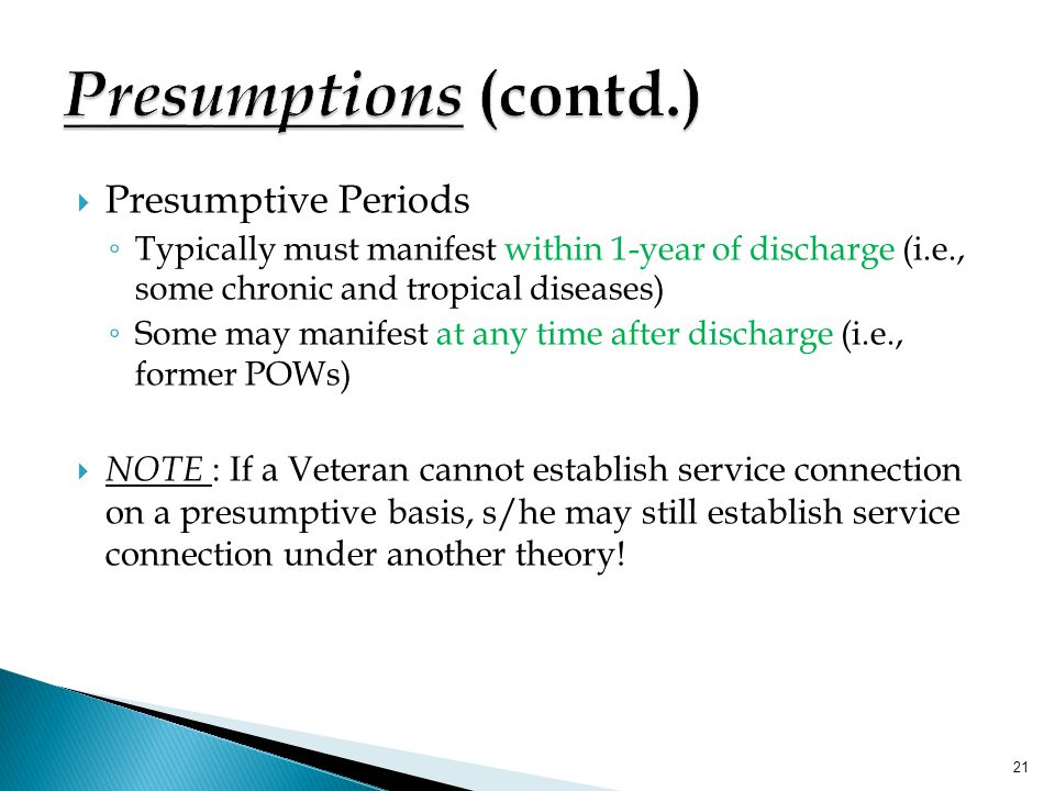 Presumptions (contd.) Presumptive Periods