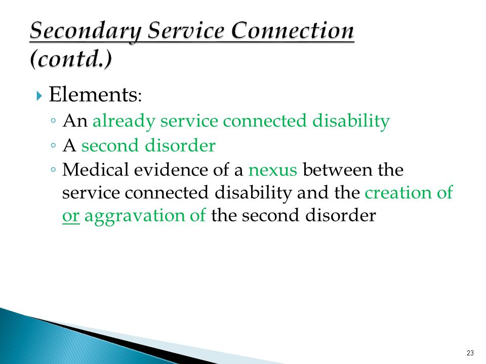 Secondary Service Connection (contd.)