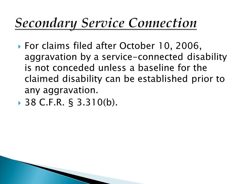 Secondary Service Connection