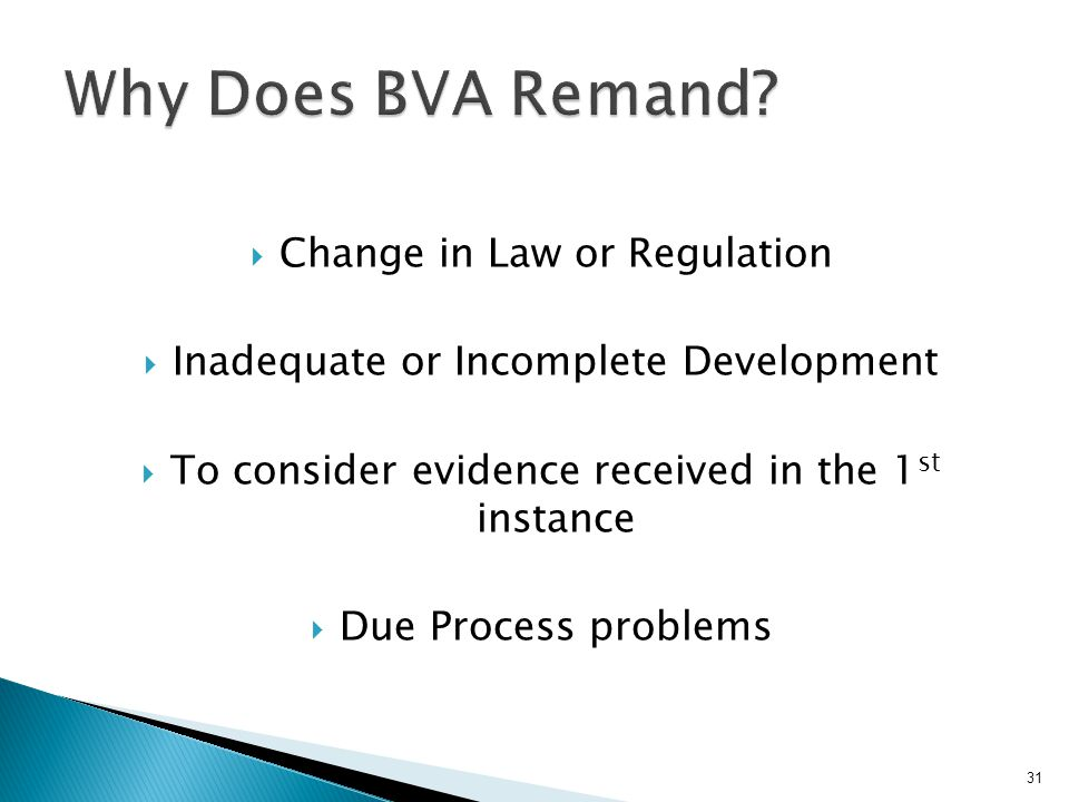Why Does BVA Remand Change in Law or Regulation