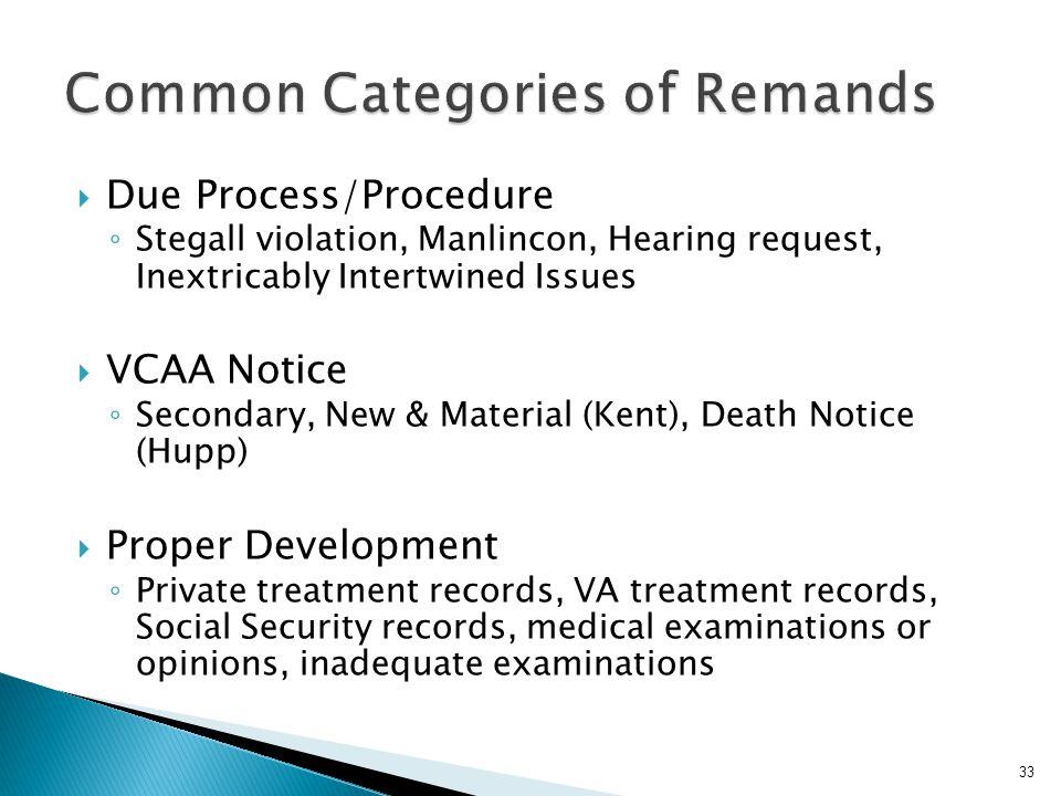 Common Categories of Remands