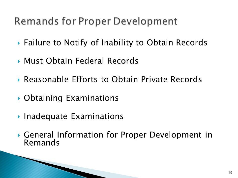 Remands for Proper Development