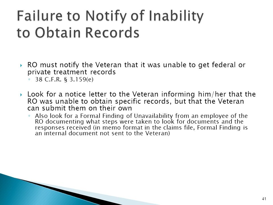 Failure to Notify of Inability to Obtain Records