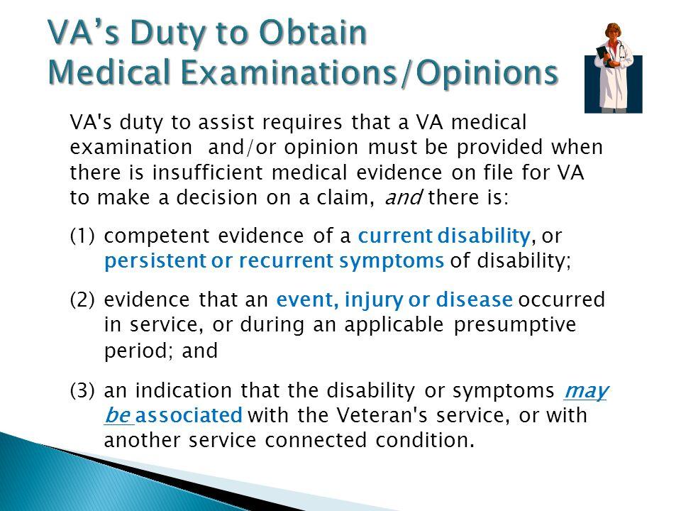 VA's Duty to Obtain Medical Examinations/Opinions