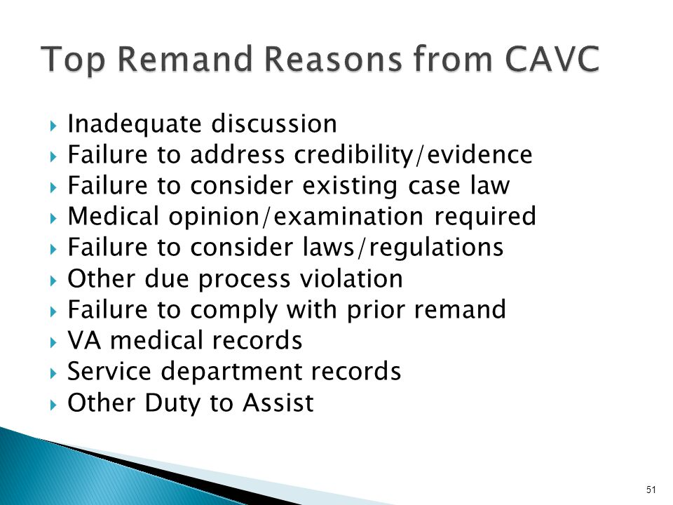 Top Remand Reasons from CAVC