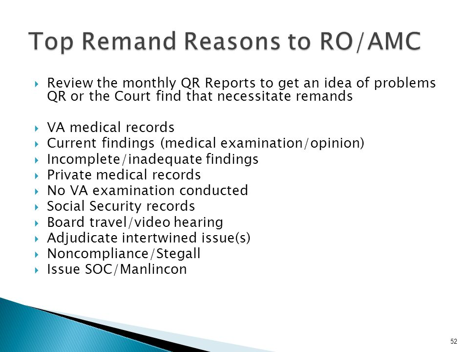 Top Remand Reasons to RO/AMC