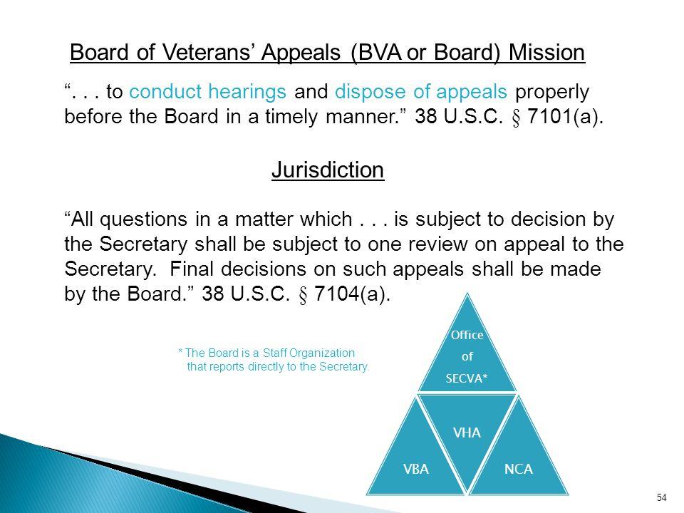 Board of Veterans' Appeals (BVA or Board) Mission