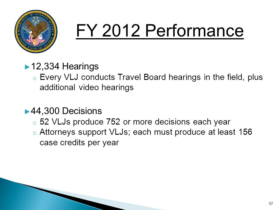 FY 2012 Performance 12,334 Hearings 44,300 Decisions