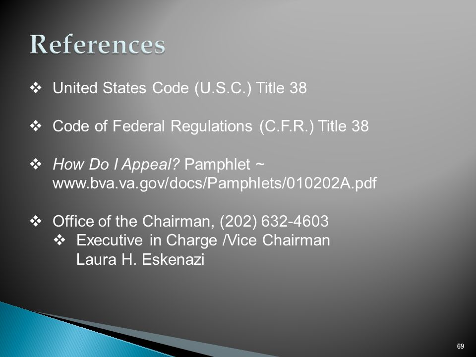 References United States Code (U.S.C.) Title 38