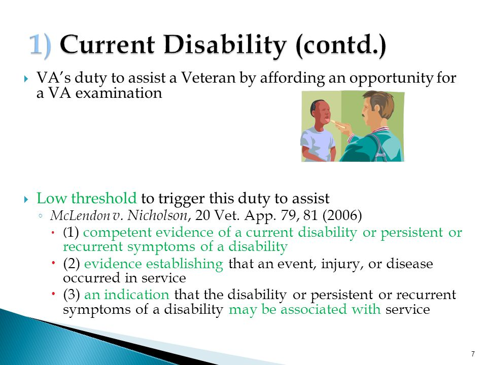 1) Current Disability (contd.)