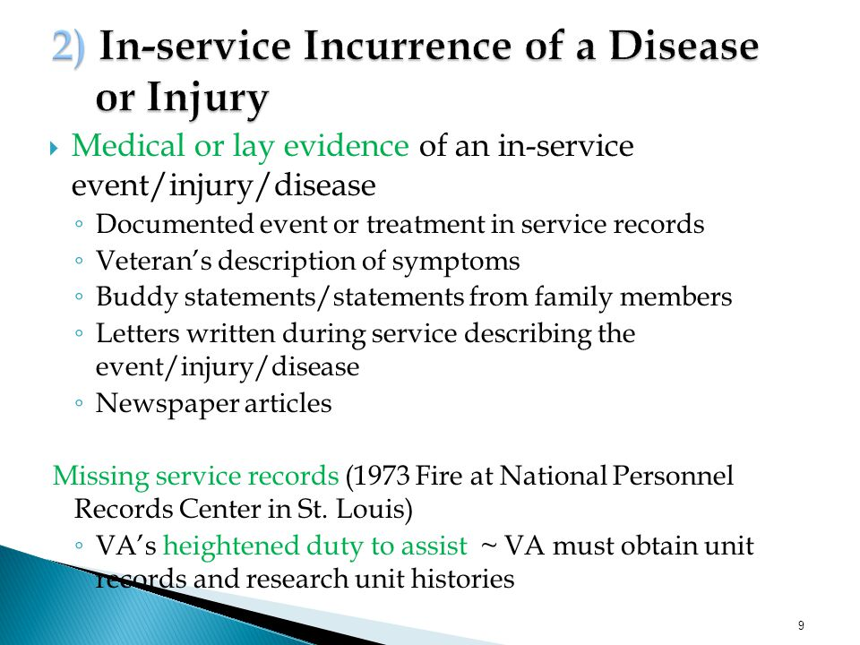 2) In-service Incurrence of a Disease or Injury