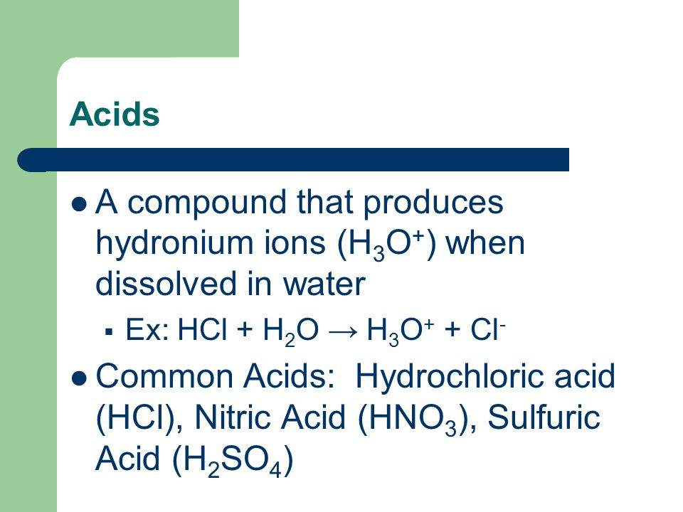 A compound that produces hydronium ions (H3O+) when dissolved in water