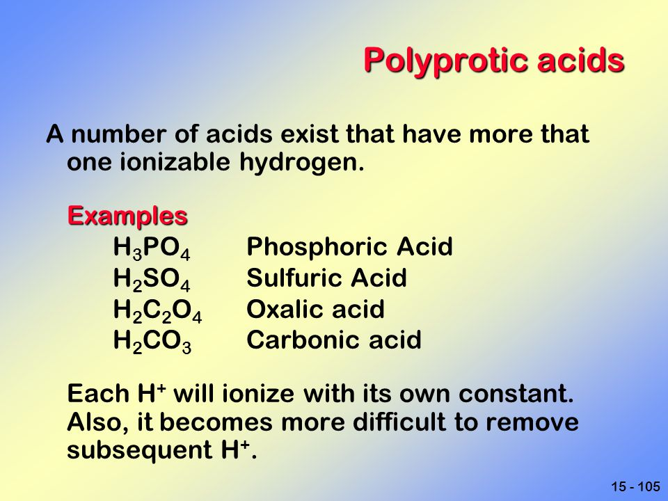 Polyprotic acids A number of acids exist that have more that one ionizable hydrogen. Examples. H3PO4 Phosphoric Acid.