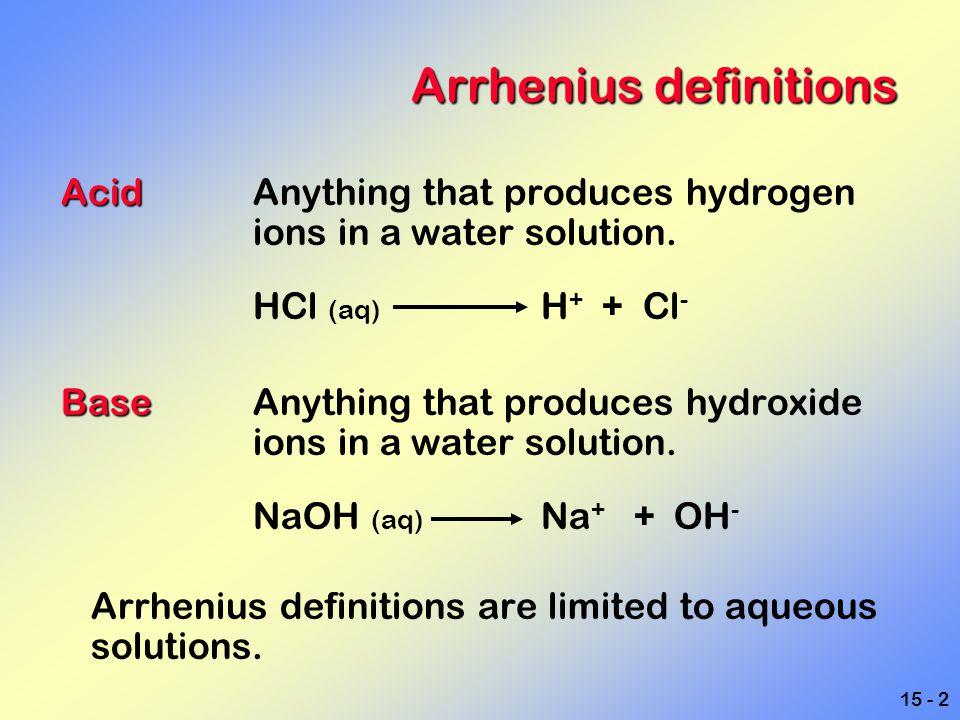 Arrhenius definitions