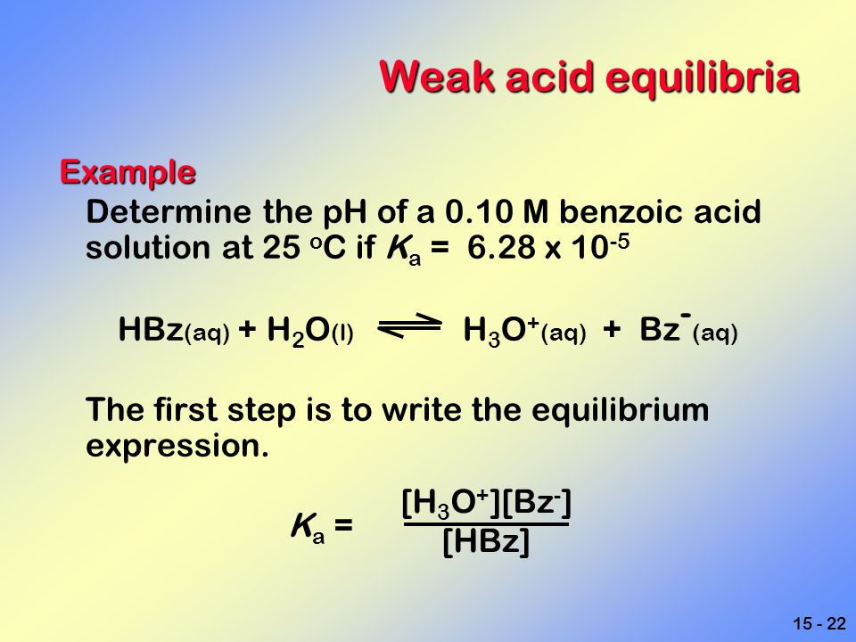 HBz(aq) + H2O(l) H3O+(aq) + Bz-(aq)