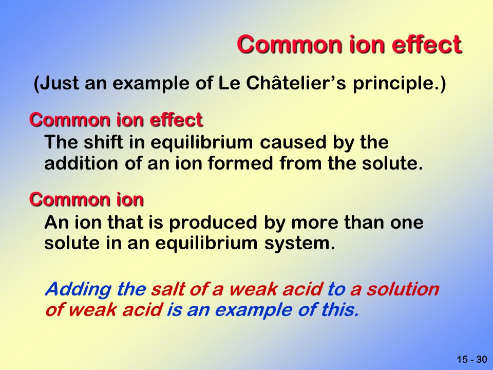 Common ion effect (Just an example of Le Châtelier's principle.)