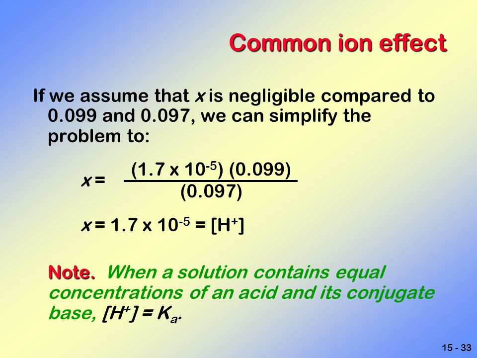 Common ion effect If we assume that x is negligible compared to 0.099 and 0.097, we can simplify the problem to: