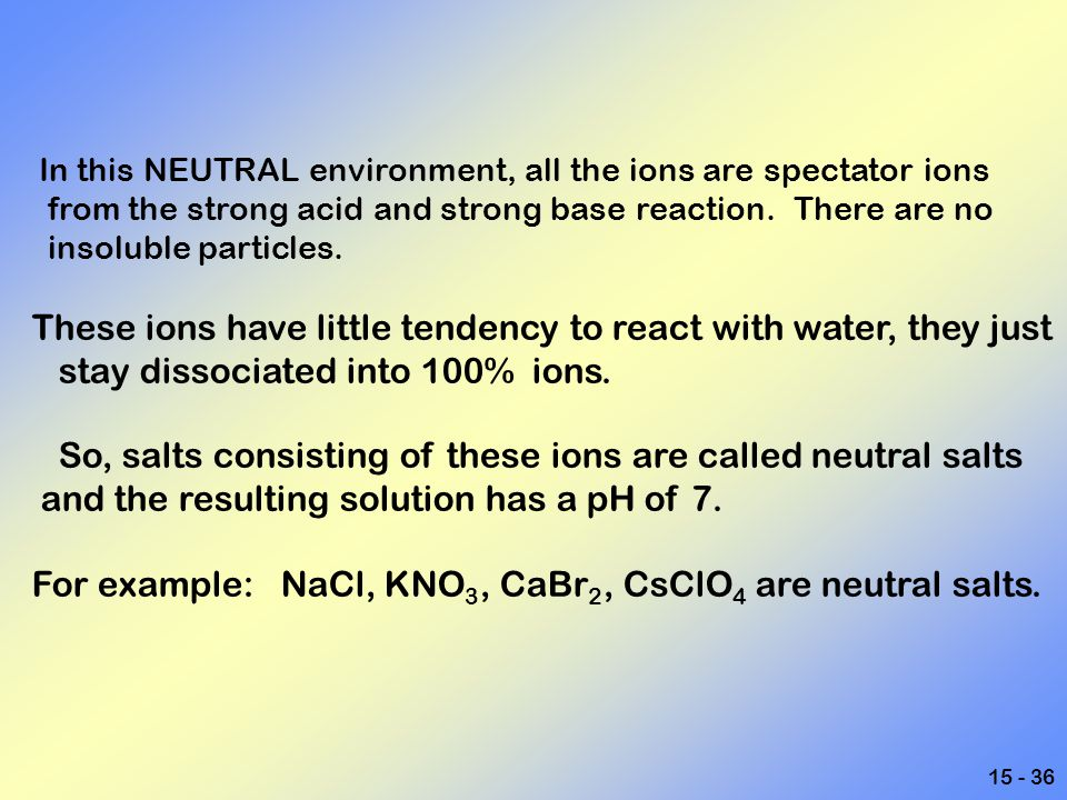 These ions have little tendency to react with water, they just