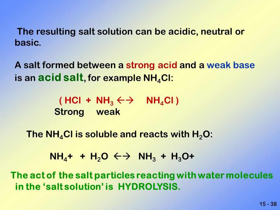 The resulting salt solution can be acidic, neutral or basic.