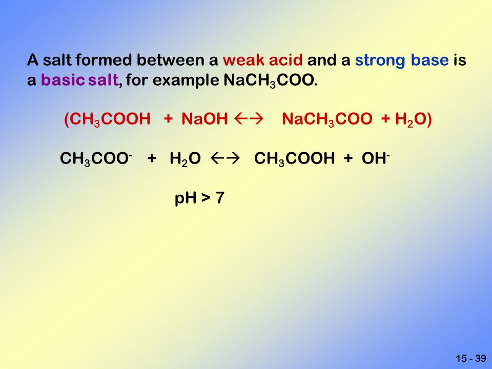 A salt formed between a weak acid and a strong base is a basic salt, for example NaCH3COO.