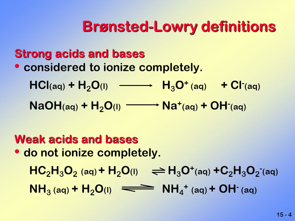 Brønsted-Lowry definitions