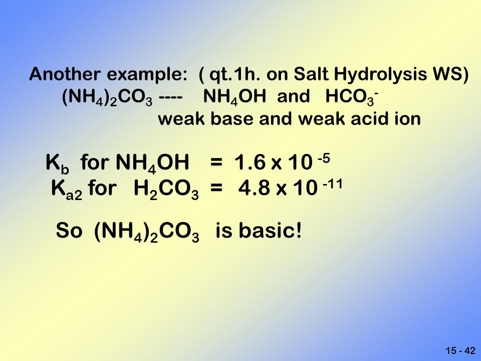 Ka2 for H2CO3 = 4.8 x 10 -11 So (NH4)2CO3 is basic!