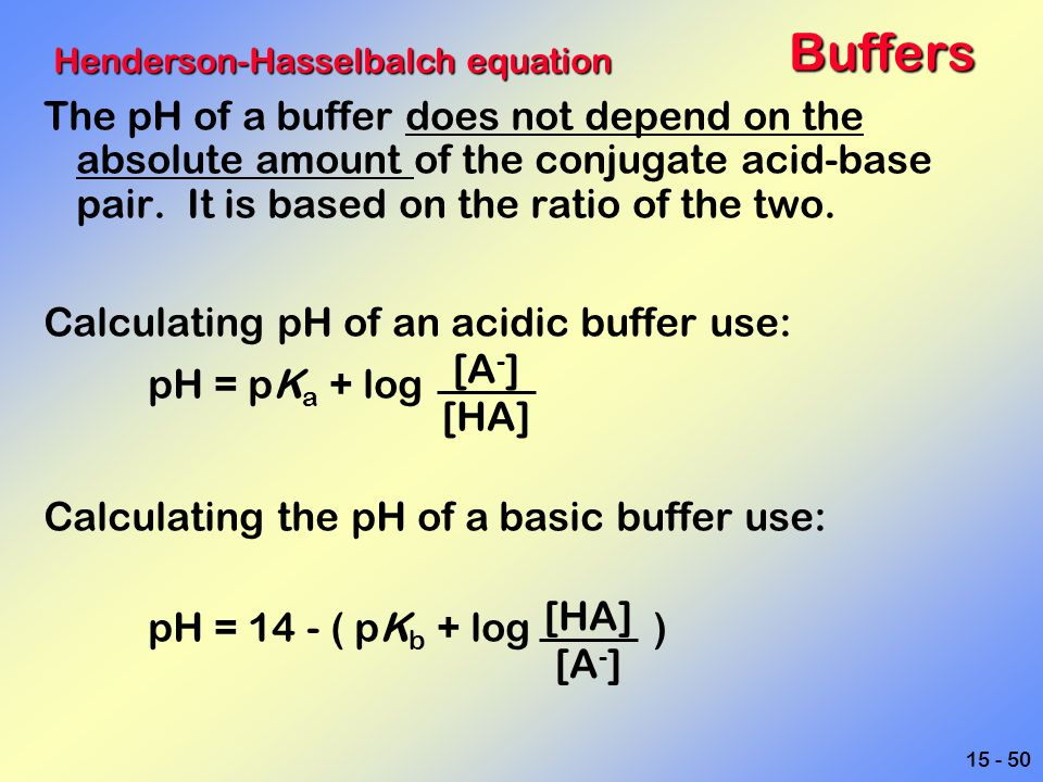 Buffers Henderson-Hasselbalch equation.