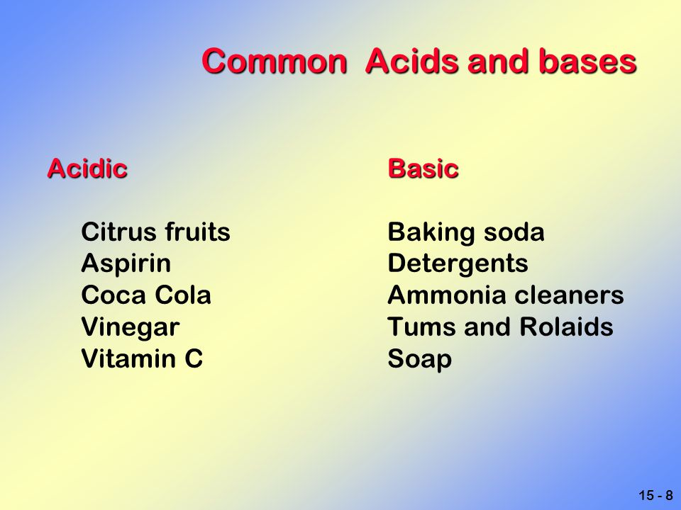 Common Acids and bases Acidic Basic Citrus fruits Baking soda
