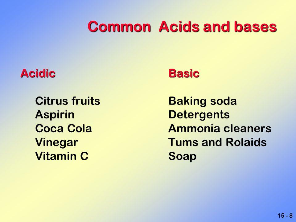 Common Acids and bases Acidic Basic Citrus fruits Baking soda