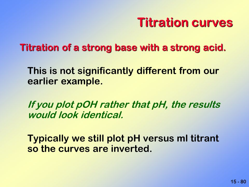 Titration curves Titration of a strong base with a strong acid.