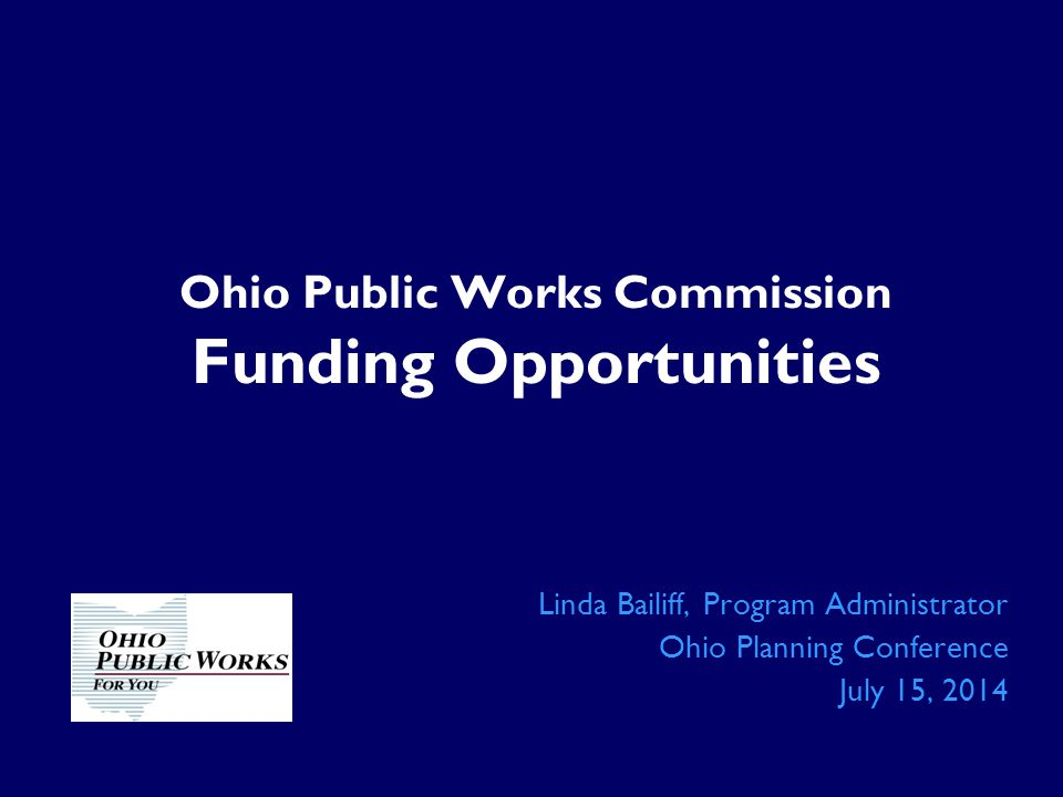 Ohio Public Works Commission Funding Opportunities