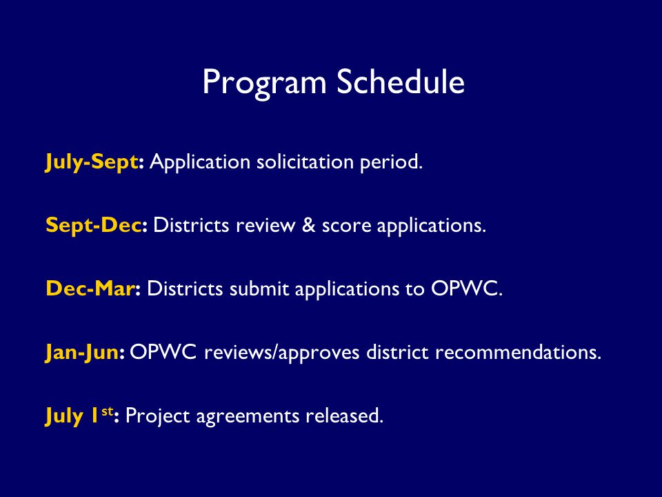 Program Schedule July-Sept: Application solicitation period.