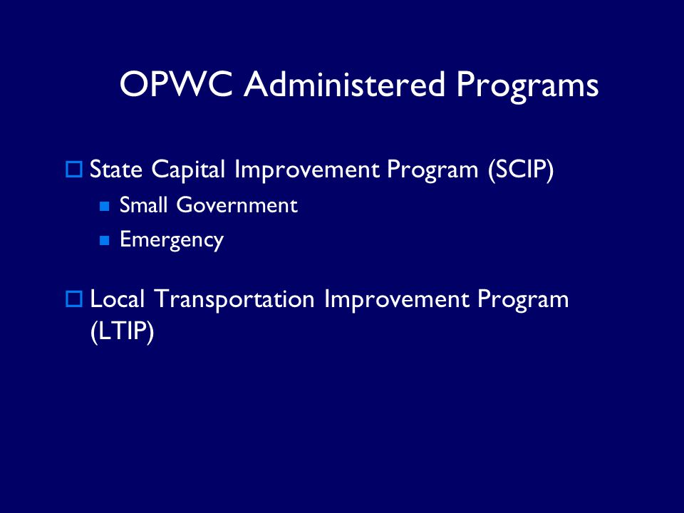 OPWC Administered Programs