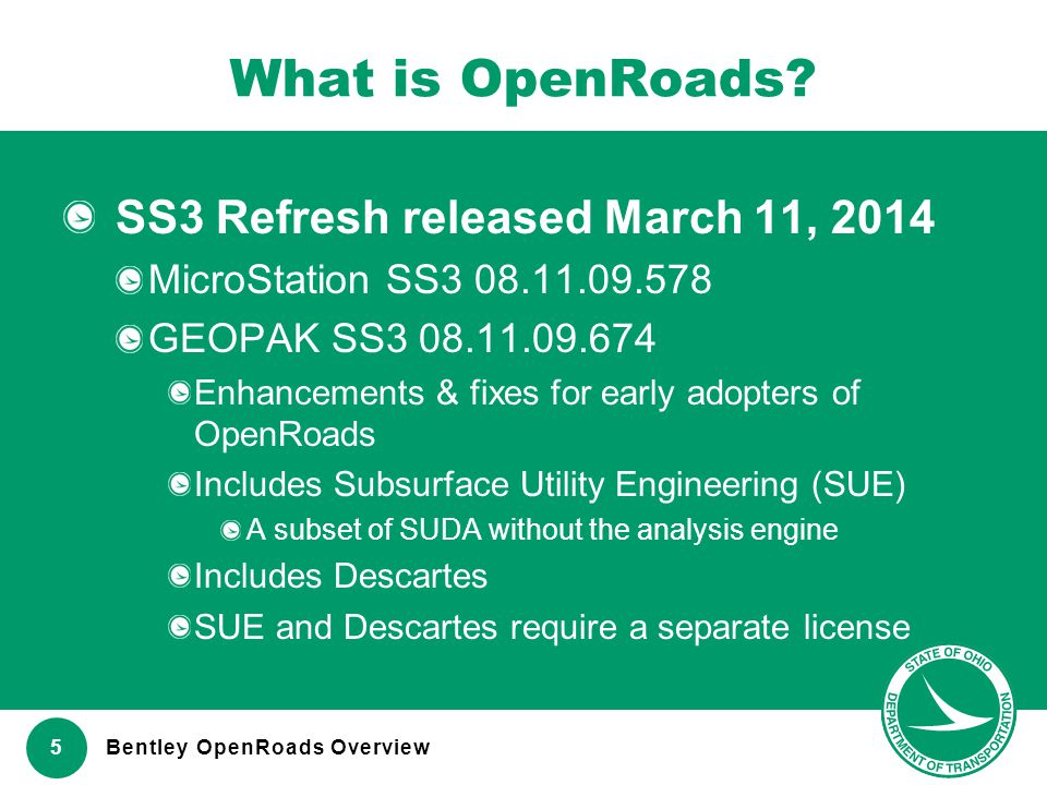 What is OpenRoads SS3 Refresh released March 11, 2014