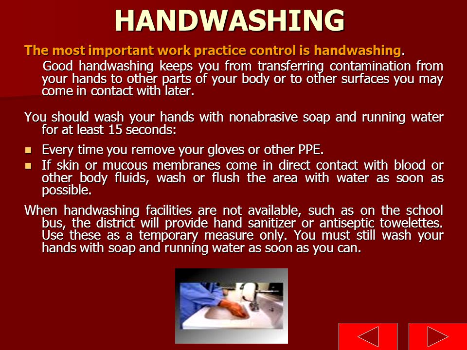 HANDWASHING The most important work practice control is handwashing.