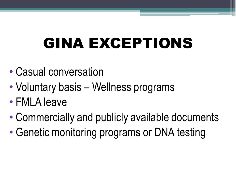 GINA EXCEPTIONS Casual conversation