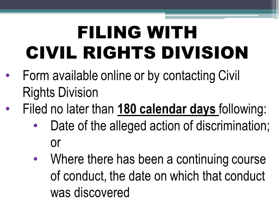FILING WITH CIVIL RIGHTS DIVISION