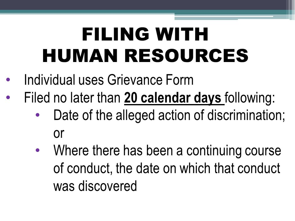 FILING WITH HUMAN RESOURCES