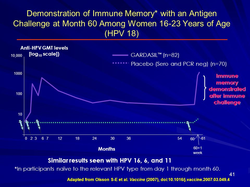 Immune memory demonstrated after immune challenge