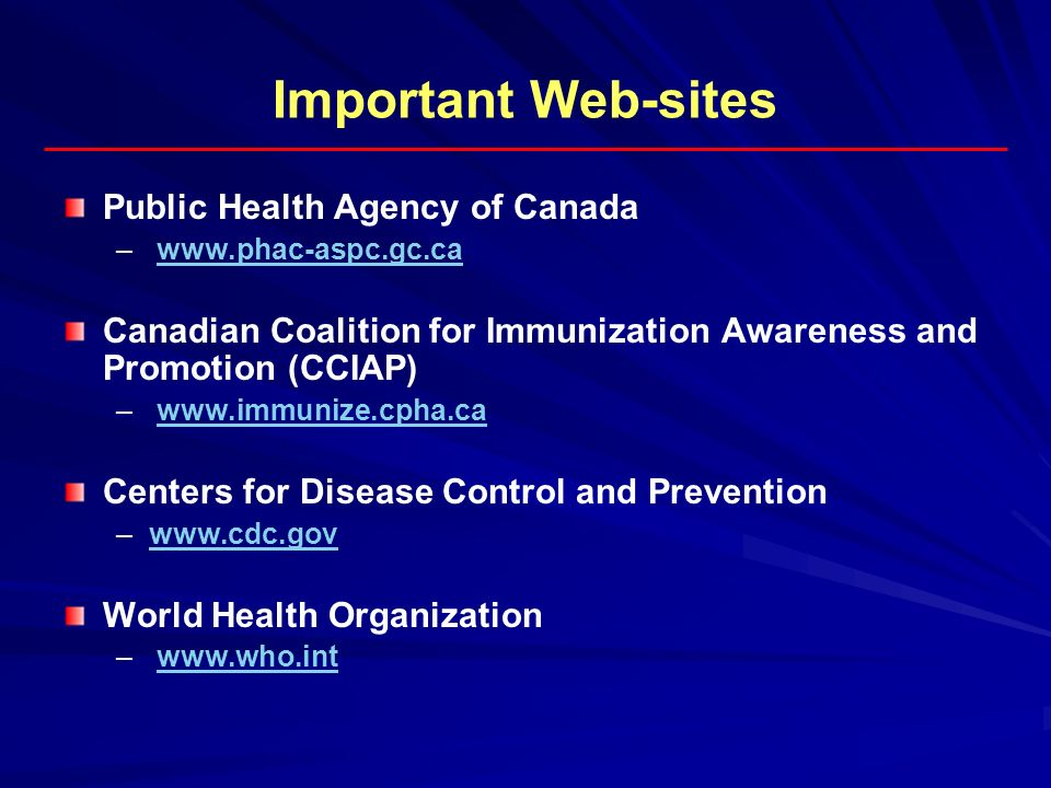 Important Web-sites Public Health Agency of Canada