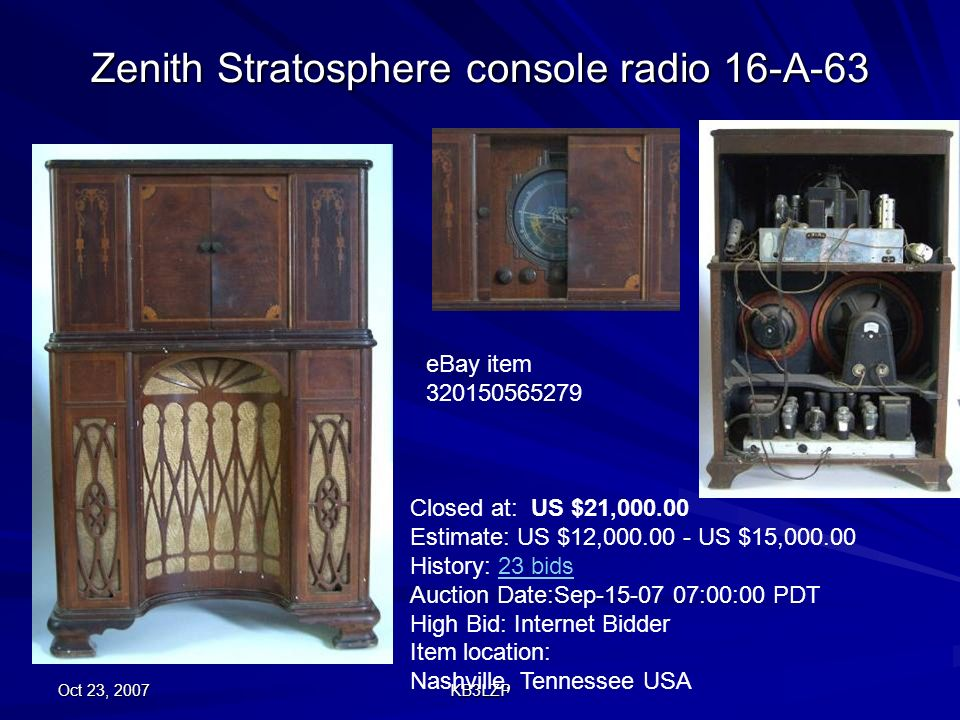 Zenith Stratosphere console radio 16-A-63