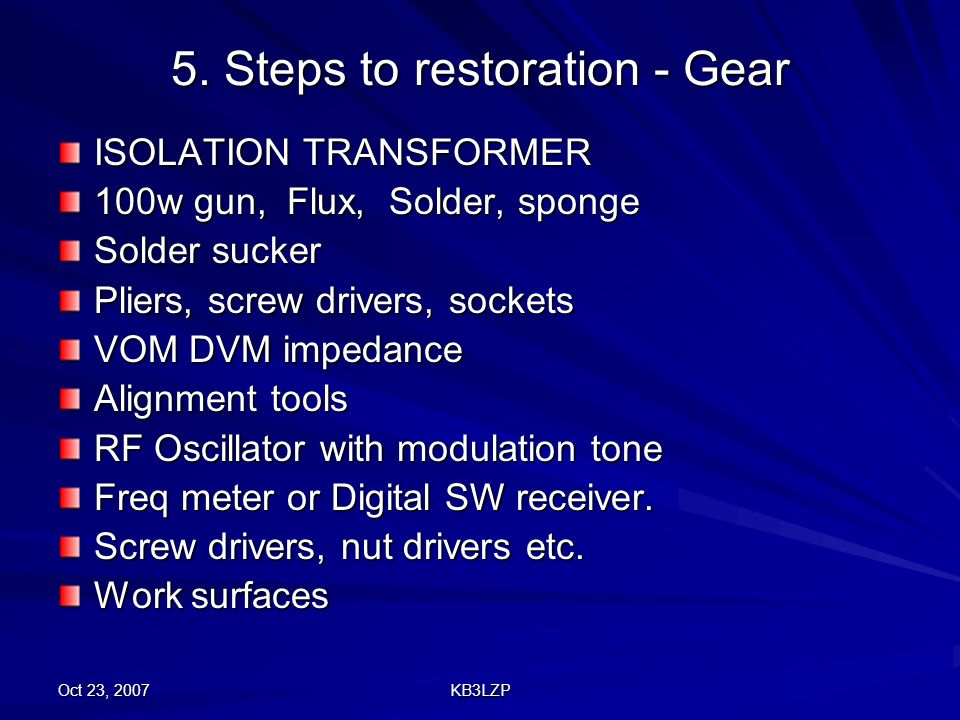 5. Steps to restoration - Gear