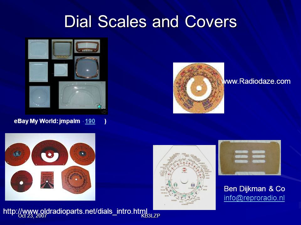 Dial Scales and Covers www.Radiodaze.com Ben Dijkman & Co