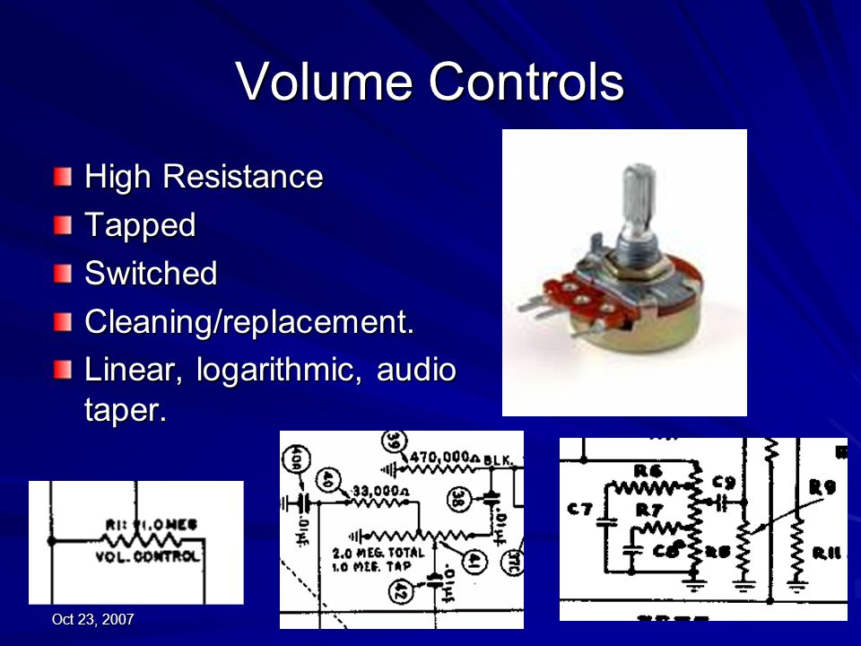 Volume Controls High Resistance Tapped Switched Cleaning/replacement.